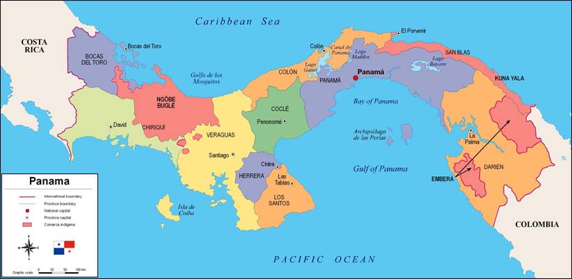 About Panama ASIPI Panama - Political map of panama caribbean sea